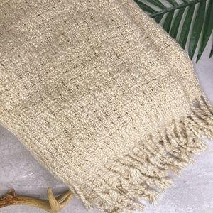 Pottery Barn Off White Knit Fringe Throw Blanket